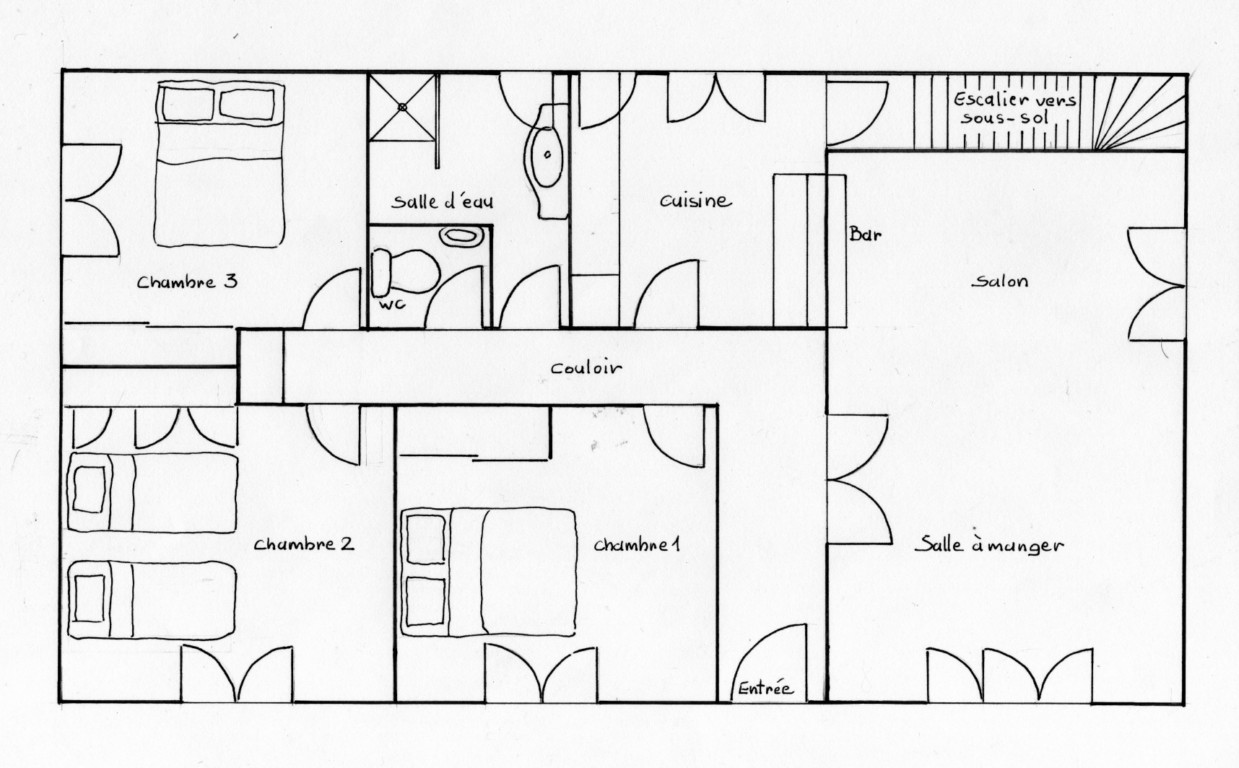 Document sans nom for Plan de maison 2 chambres salon cuisine douche